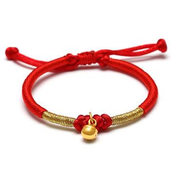 阿梵尼 黄金铃铛红绳足金手链