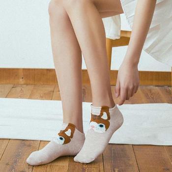 赛棉动物立体直板女船袜 5双装