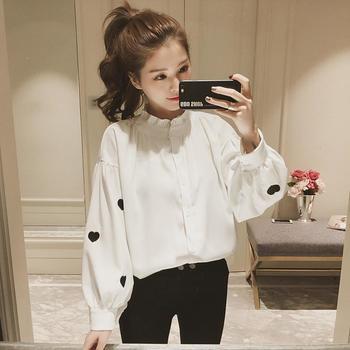 衣岚香爱心刺绣灯笼袖白色衬衫