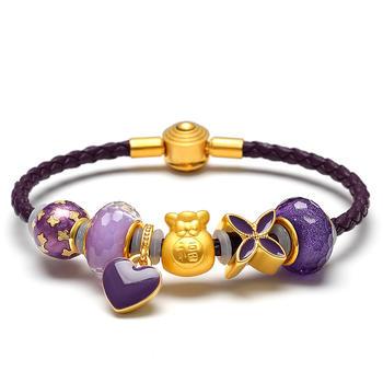 阿梵尼 黄金福袋足金紫色手链