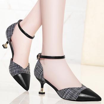 猫跟凉鞋女春时尚千鸟格高跟鞋