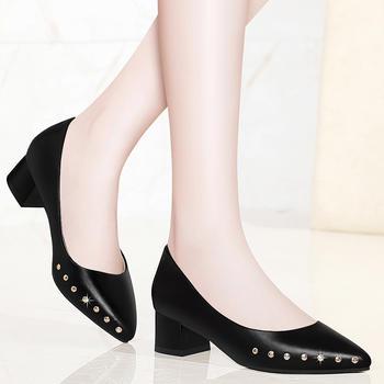 中跟单鞋女春季浅口鞋子粗跟皮鞋