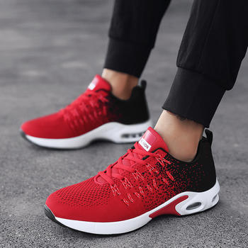 跨洋 时尚气垫跑?#35282;?#20387;鞋 黑红