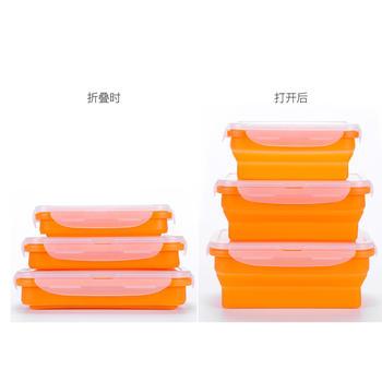 好彩依家硅胶折叠饭盒便当盒保险