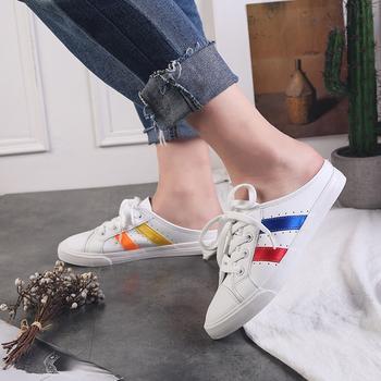 娅莱娅透气彩条半拖休闲小白鞋女