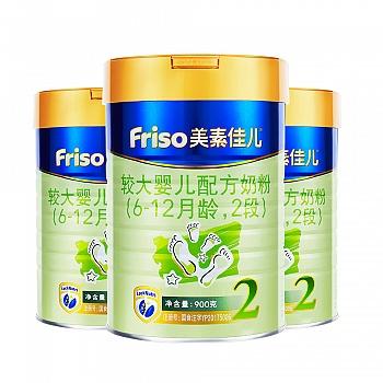 美素佳儿较大婴儿配方奶粉2段罐装900克*3(新包装)