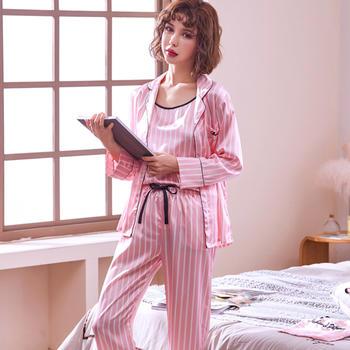 限时特惠-颖贝尔条纹冰丝少女睡衣七件套