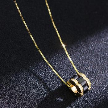 卡洛美 网红黑色圆环锁骨链925银
