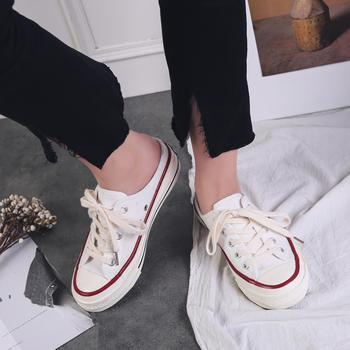 娅莱娅无后跟半拖套脚帆布小白鞋