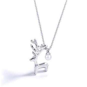 CROCUS個性時尚迷你百搭少女心小鹿吊墜鎖骨短鏈61344