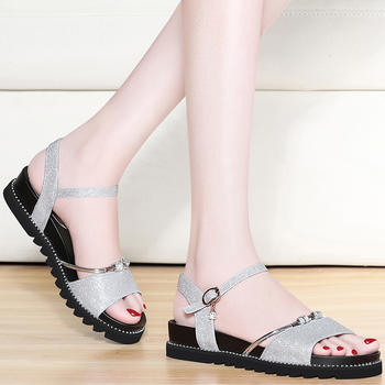 平底凉鞋女夏季仙女鞋中跟女鞋