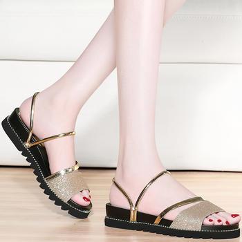 凉鞋女夏季平底两穿百搭韩版鞋