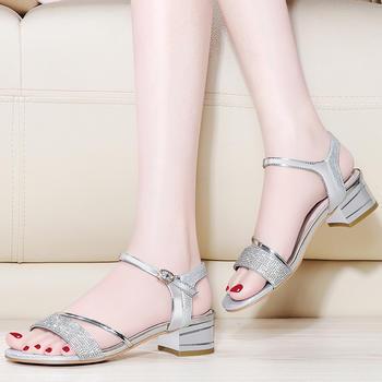 夏季新款一字扣粗跟韩版时尚女鞋