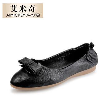 艾米奇羊皮?#39184;?#20302;跟蝴蝶结单鞋