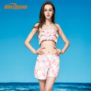 热浪荷叶边裙裤分体裙式游泳衣