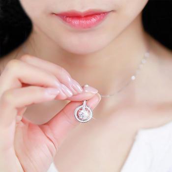 S925银闪耀圆圈锆石锁骨项链闺蜜礼物时尚百搭
