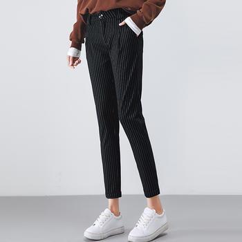 新款裤女九分裤条纹女装女裤DC2212