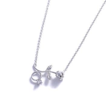 Crocus创意立体玫瑰花戒指设计女士锁骨短链61513