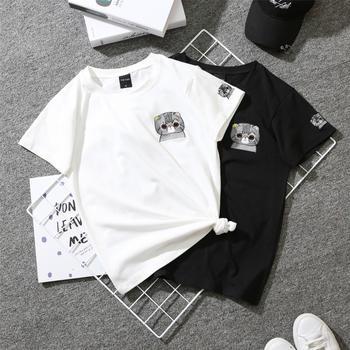 善洛刺绣猫咪上衣bf学生短袖T恤女