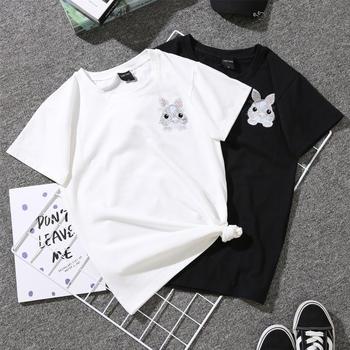 善洛卡通可爱刺绣小兔子短袖T恤