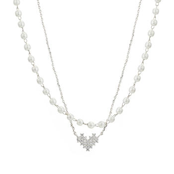 Crocus银色爱心造型合金项饰61118