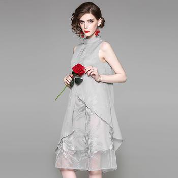 SEEYA希娅 冷淡风无袖中长款连衣裙