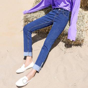 秋装新款高腰阔腿裤时尚撞色翻边蓝色直筒九分裤子潮