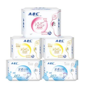 ABC纤薄棉柔舒适日夜卫生巾5包