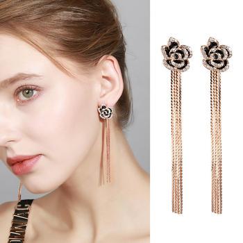 戴拉  925银针玫瑰花长款流苏耳环