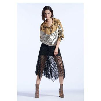 FivePlus2018新款女秋装蕾丝半身裙女高腰百褶裙不规则中长薄款