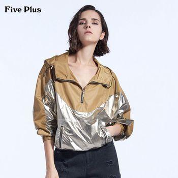 FivePlus2018新款女秋装宽松长袖风衣连帽外套女拼接潮撞色套头