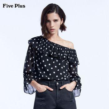 FivePlus2018新款女秋装波点雪纺衬衫女一字肩宽松衬衣拼荷叶边