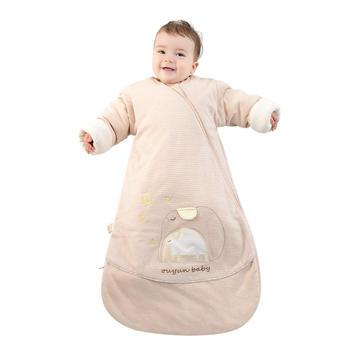 欧孕彩棉新生儿睡袋一体春秋夹棉宝宝防踢被子