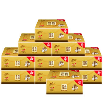 清风金装抽纸120抽10包3层抽取式