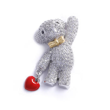 CROCUS银色泰迪熊造型合金胸针77617