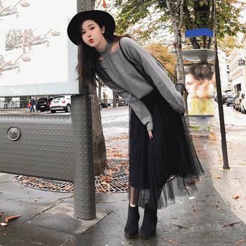 新款针织上衣半身网纱裙两件套