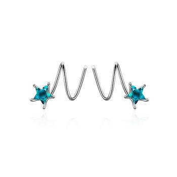五角星 蓝水晶耳环