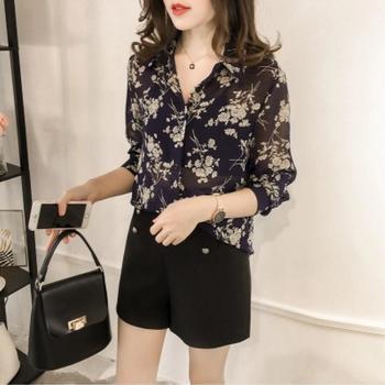 S SKY新款气质宽松显瘦印花衬衫女长袖上衣韩范衬衣潮