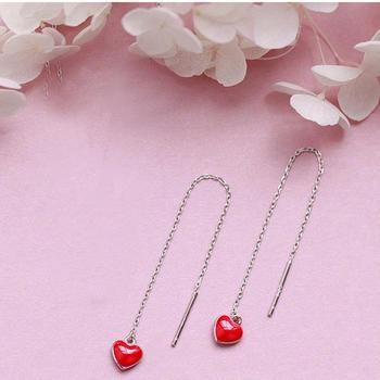 甜美小清新红色爱心耳线