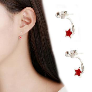 小清新简约星星爱心后挂式耳环