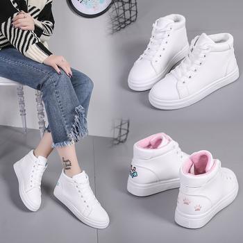 艾微妮韩版猫猫猫爪高帮小白鞋