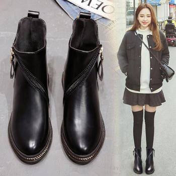 韩国chic马丁靴女短筒英伦风短靴