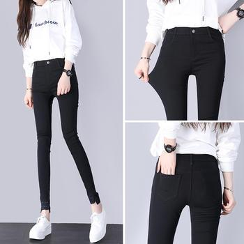 新款韩版高腰魔术裤黑色紧身弹力小脚铅笔裤