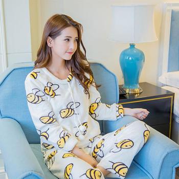 麦晴薄款甜美小蜜蜂法兰绒家居服