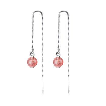 天然草莓晶长款耳线修饰脸型百搭送闺蜜礼物