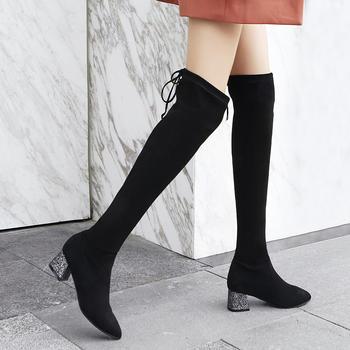 ZHR-时尚粗跟网红长筒靴子过膝靴
