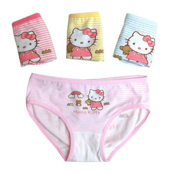 义客舒适卡通猫女童三角内裤