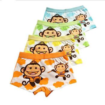柳咖卡通猴子男童舒适平角内裤