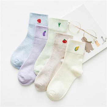 柳咖5双卡通可爱纯棉袜子女