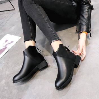 艾微妮韩版后拉链皮质休闲短靴
